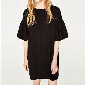Zara Black Puff Sleeve Dress